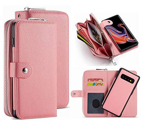 S10 Wallet Case,HYSJY PU Leather Detachable Magnetic Zipper Purse for Women with Slim Shockproof Cover Shell Card Holder Slots Coin Pocket Fit Samsung Galaxy S10(Zip -Pink, S10)