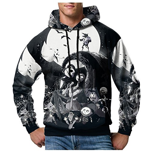 Jack Skellington The Nightmare Before Christmas PullOver Hoodie Sublimation Style A (X-Large)