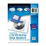 Wholesale CASE of 20 - Avery Vinyl Self-Adhesive Zip/CD/DVD Pockets-Zip/CD/DVD Pockets, Self Adhesive, Vinyl, 10/PK, Clear