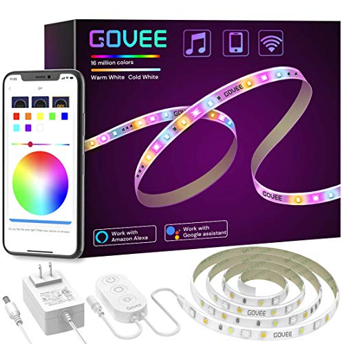 Smart LED Strip Lights, Govee RGBWW WiFi Light Strip Works with Alexa Google Home, 16 Million Colors, Warm White and Cool White, Wake-Up Lighting App Control for Bedroom, Living Room, Kitchen, 6.56FT