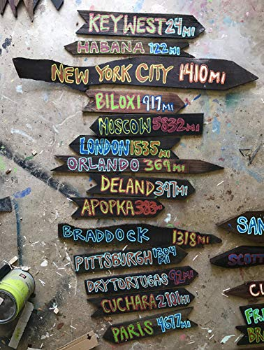 (Set of 9 - Directional Signs Tiki Fairy Tale Destination-Directional Sign Custom Tiki Arrows Road Sign )