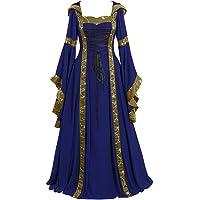 Maxi Vestidos De Estilo Vintage Medieval para Mujer,Manga Acampanada Vestido Celta De Color SóLido para Cosplay…