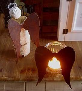 2alas de ángel metal oxidado alas de ángel Estilo Rústico navideño con decoración de invierno