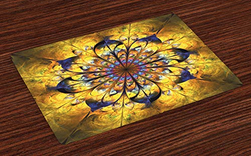 (Ambesonne Yellow and Blue Place Mats Set of 4, Mandala with Artsy Floral Ornamental Psychedelic Fantasy Rays Asian Pattern, Washable Fabric Placemats for Dining Room Kitchen Table Decor, Multicolor)