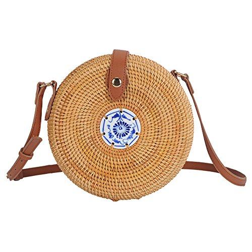 C for Sling Bohemia Bag Women Rattan Crossbody Handmade Beach Bags Bag Bag Home Round Shoulder Woven Storage Bag Rattan BUf6wdaq