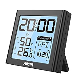 AMIR Digital Hygrometer Indoor Thermometer, Temperature Humidity Gauge with Digital Alarm Clock, uilt-in Clock and Time Display, Calendar, Snooze, Backlight for Home, Office