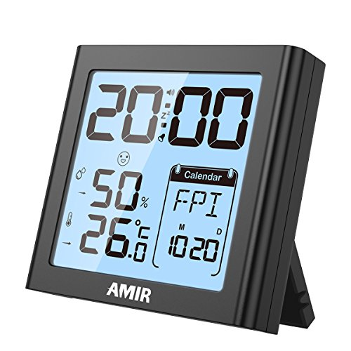 AMIR Digital Hygrometer Indoor Thermometer, Temperature Humidity Gauge with Digital Alarm Clock, uilt-in Clock and Time Display, Calendar, Snooze, Backlight for home, office (Thermometer Digital Hygrometer)