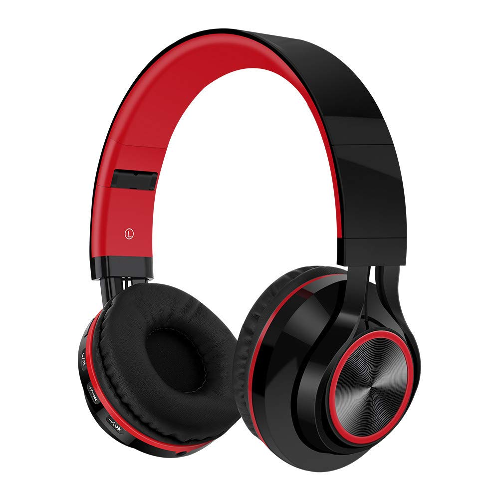 Wireless Bluetooth Foldable Headphones Hi-Fi Stereo Headset w/Mic SD/TF Card High-End earbud design crisp highs and deep low notes 3D Sound Effect conform instantly to your ears (Red, Freesize)