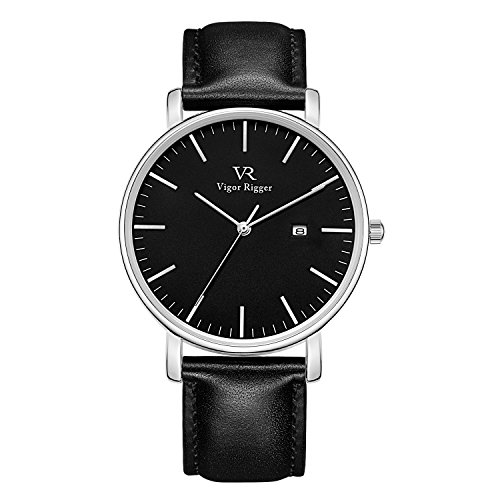 (Vigor Rigger Men's Quartz Watches with Genuine Black Leather Watch Band, Minimalist Analog Date Display Wrist Watch, 30M Waterproof Watch with Metal case-2.)