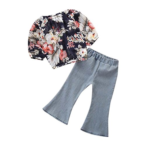 Willsa Toddler Baby Girls Cotton Flower Print Long Sleeve Tops+Fashion Denim Flare Pants Sets (4T, Dark Blue)