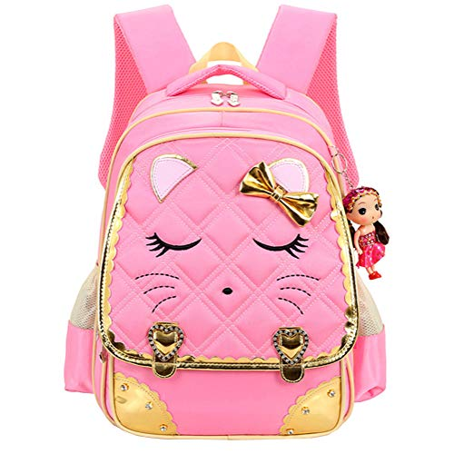 Efree Cute Cat Face Bow Diamond Bling Waterproof Pink School Backpack Girls Book Bag (Medium, Pink) -
