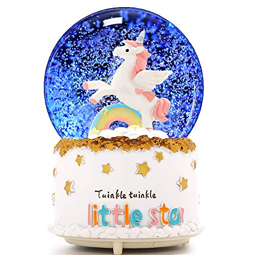 Unicorn Snow Globe, VECU 80mm Manual Snowfall Cartoon Rainbow Music Snow Globe  for Girl Boy Home Decoration