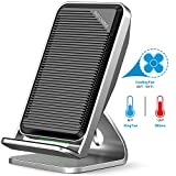 qi note edge - Fast Wireless Charger, KingYue Qi Fast Wireless Charging Pad Stand with Cooling Fan for Samsung Galaxy Note 8/5, S8, S8 Plus, S7, S7 Edge, S6 Edge Plus and Apple iPhone X/ 8/ 8 Plus-NO AC Adapter