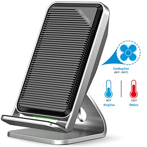 Galaxy S9 Fast Wireless Charger, KingYue Qi Wireless Charging Pad Stand with Cooling Fan for Samsung Galaxy S9/ S9 Plus, Note 8/5, S8, S8 Plus, S7, S7 Edge, S6 Edge Plus and Apple iPhone X/ 8/ 8 Plus (Built In Cooling Fan)