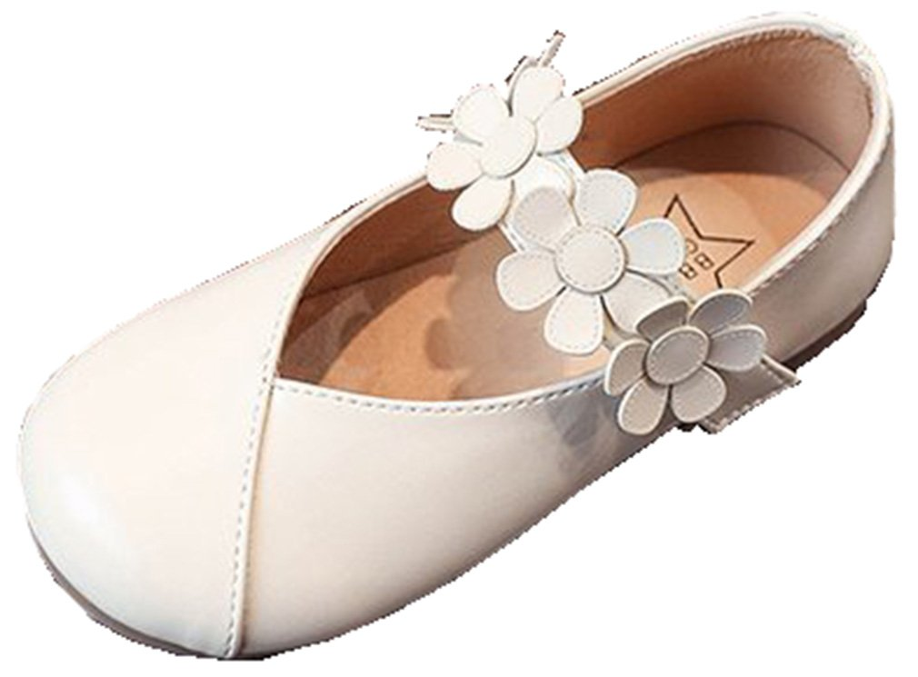 VECJUNIA Girl's Princess Dressy Mary-Jane Ballet Flat Shoes Flowers Wedding (Ivory, 7.5 M US Toddler)