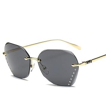 XYLUCKY Diamantschliff randlose Sonnenbrille Farbverlauf Ocean Color großen Rahmen Sonnenbrillen , brown