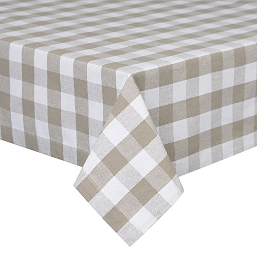VEEYOO 52 x 70 inch (132 x 178 cm) Rectangular 100% Cotton Plaid Tablecloth Gingham for Home Kitchen Outdoor Use, Tan & White Buffalo Check (Tablecloth Christmas In Colour)