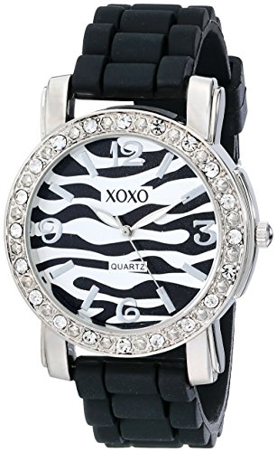 - XOXO Women's XO8058 Rhinestones Accent Black Silicone Strap Watch