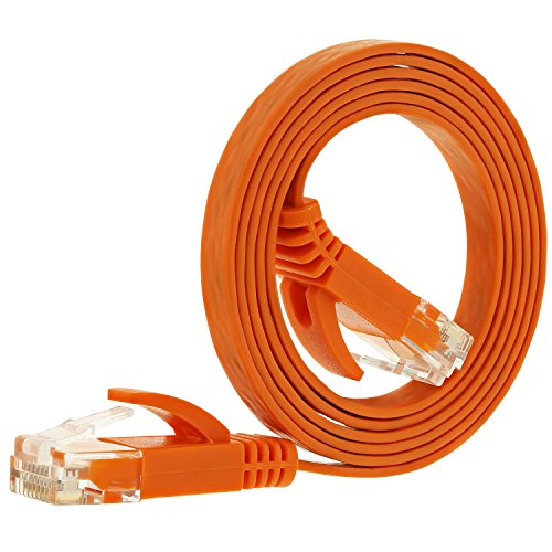 Fosmon Networking Cat5e Flat Tangle Free Ethernet Patch Cable (Orange, 3 Feet)