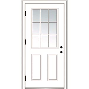 National Door Company ZZ364570R Fiberglass Smooth, Primed, Right Hand Outswing, Prehung Door, 9 Lite 2-Panel, Clear Glass, 32