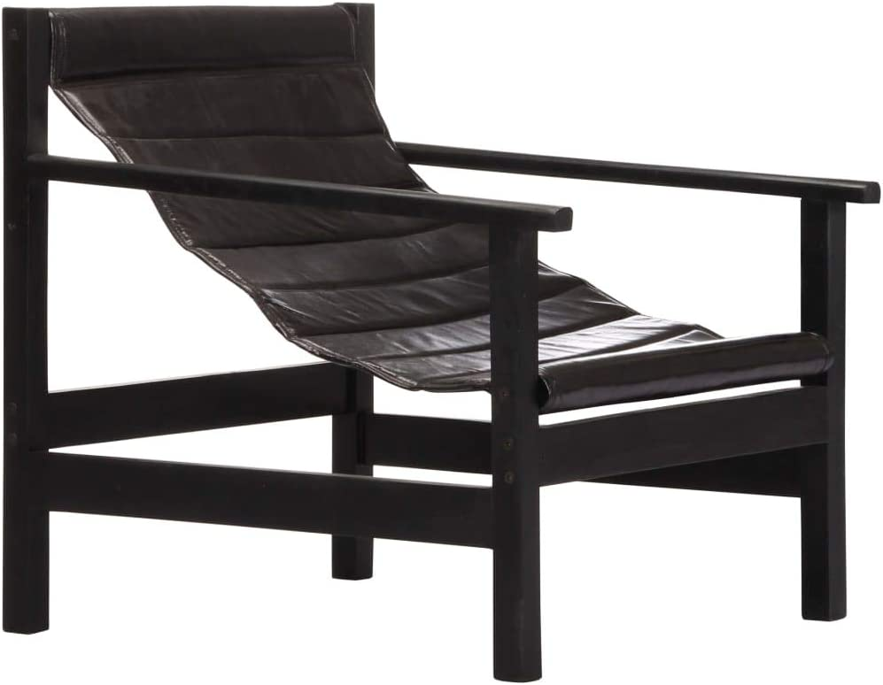 vidaXL Relaxing Armchair Striped Surface Design Living Room Sofa Seating Furniture Seat Black Real Leather