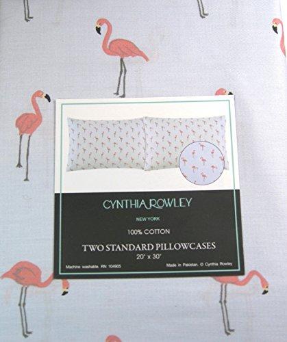 Cynthia Rowely Set of 2 Standard Pillowcases Flamingos 100% Cotton by Cynthia Rowely