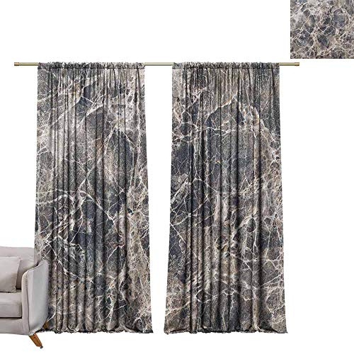 berrly Grommet Blackout Curtains Marble,Ceramic Style Grunge Scratches with Formless Lines and Cracks Artwork, Tan Beige Dark Taupe W96 x L84 Art Drapery Panels