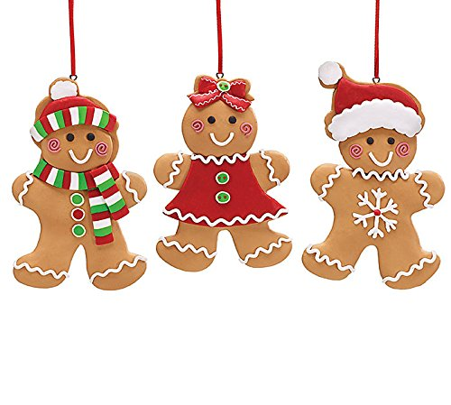 Set Of 3 Gingerbread Cookie Christmas Tree Ornaments