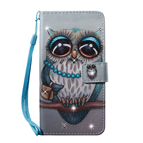 iPhone 7 Hülle,iPhone 8 Schutzhülle,iPhone 7/8 Handyhülle Lederhülle,Hpory Luxus Bling Kristall Glitzer Strass Diamant Colorful Painting PU Leather Ledertasche Lederhülle Brieftasche im Bookstyle Wall Graue Eule