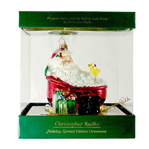 Christopher Radko TWAS THE NIGHT AFTER CHRISTMAS Blown Glass Ornament Christmas Santa Tub by Christopher Radko