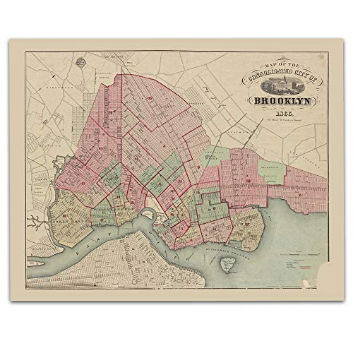 (Brooklyn New York Vintage Map Circa 1866-11 x 14 Unframed Print - Great Housewarming Gift. Brooklyn New York Themed Office Decor. Great Gift for a Real Esate Agent or Delveloper)