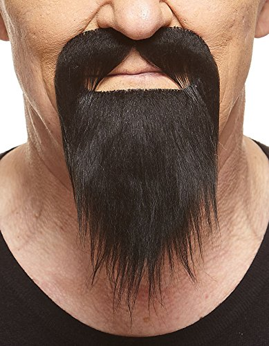 Mustaches Self Adhesive, Novelty, Short Ducktail Fake Beard, False Facial Hair, Costume Accessory for Adults, Black -