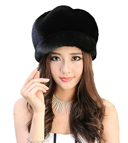 YR Lover Fashion Warm Earmuffs Mink Fur Peaked Cap Cute Beret Caps Snow Cap