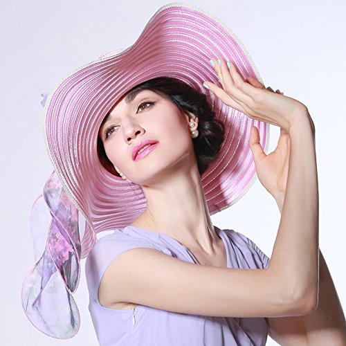 June's Young Chapeau Femmes Anti Soleil Plage Voyage Mariage Vacances décontracté pour été Rose