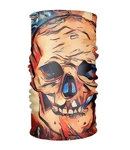 Original Multi-Style Headband Skull Orange Abstract Halloween Sweatband Perfect for Yoga or Fashion Workout or Travel Super Comfortable -