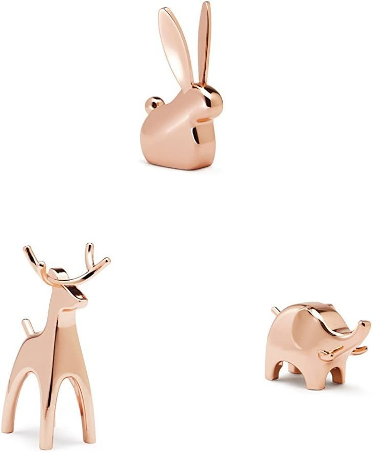 Umbra Anigram Ring Holder Metal Plated Bunny, Reindeer and Elephant Ring Holders Great as Party Favors, Copper Ring Holders, Set of 3
