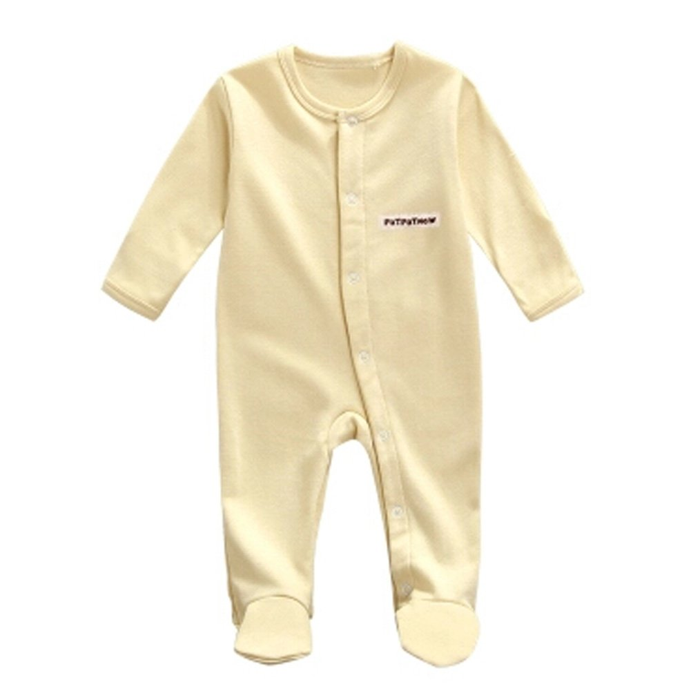 Kylin Express Unisex Long Sleeve Baby Bodysuit Infant Coverall Kid Sleeper, Yellow