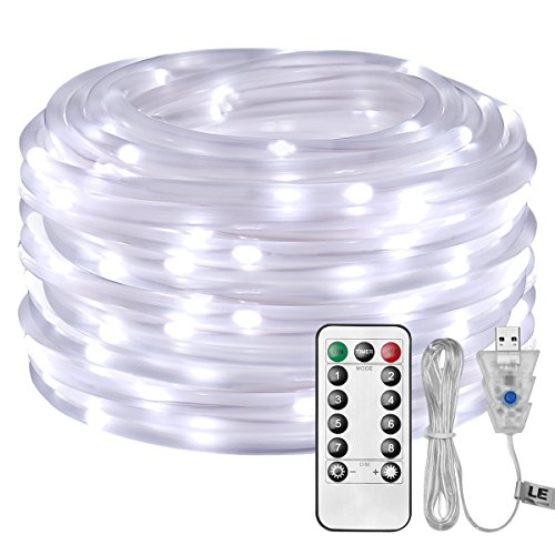 (LE LED Rope Light with Remote, USB Powered, Dimmable, Daylight White, Waterproof, 33ft 100 LED Indoor Outdoor Light Rope and String for Deck, Patio, Bedroom, Boat, Camping, Landscape Lighting and More)