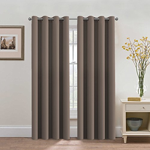 H.Versailtex Premium Blackout Thermal Insulated Room Darkening Curtains for Bedroom/Living Room - Grommet Top (Taupe Gray,52 by 84 - Inch,Set of 2 Panels) (Set Taupe Living Room)