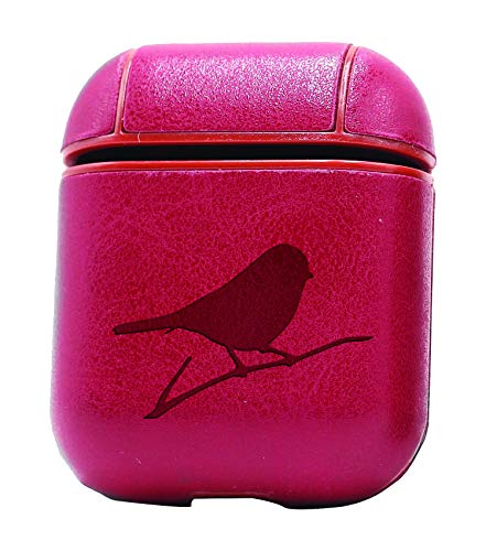 Animal Finch Songbird WILDLFIE (Vintage Pink) Air Pods Protective Leather Case Cover - a New Class of Luxury to Your AirPods - Premium PU Leather and Handmade exquisitely by Master Craftsmen