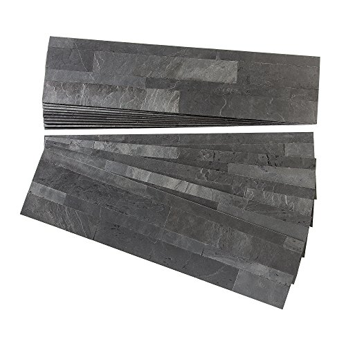 Thin Veneer Stone - Aspect Peel and Stick Stone Overlay Kitchen Backsplash - Charcoal Slate (Approx. 15 sq ft Kit) - Easy DIY Tile Backsplash
