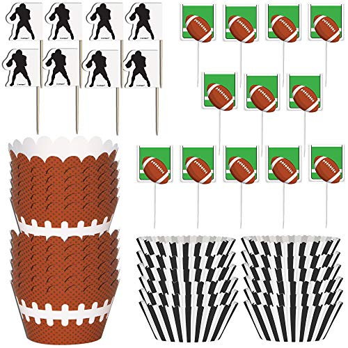 Football Cupcake Picks (Unique Football Cupcake Bundle   Party Picks, Cupcake Kits & Wrapper   Great for Sports-Themed Party, Kids Birthday, Classroom Activity, Sports)