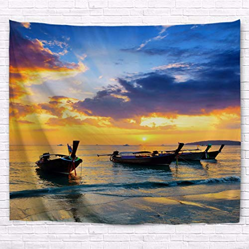A.Monamour Traditional Thai Boats at Sunset Beach Ocean Nature Scenery Photography Picture Print Fabric Hippie Mandala Wall Hanging Tapestry Kids Bedroom Living Room Dorms by A.Monamour