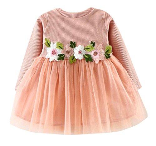 Guandiif Baby Toddler Girls Jersey Dress Long Sleeve Floral Tutu Dress Cotton Party Dress Tulle Tutu Dresses For Girls 6-9 Months - Jersey Pink Dress Girls