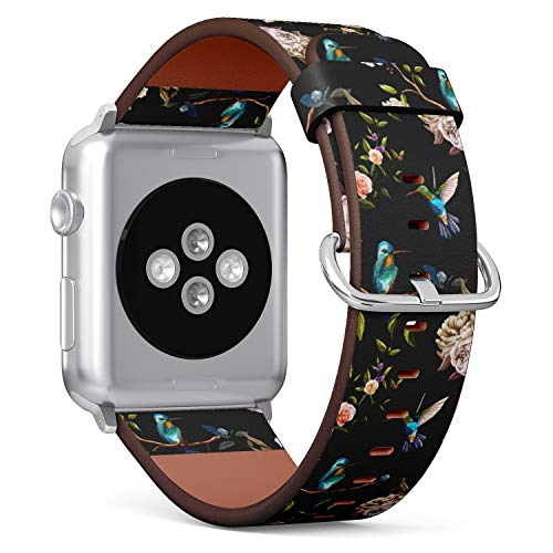 (Hummingbird Floral Pattern) Patterned Leather Wristband Strap for Apple Watch Series 4/3/2/1 gen,Replacement for iWatch 38mm / 40mm -