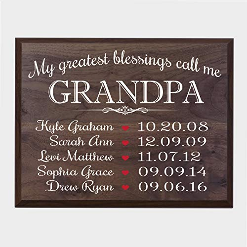LifeSong Milestones Personalized Gifts for Grandpa Wall Plaque Sign with Children's Names Birth Dates to Remember My Greatest Blessings Call me Grandpa - Birth Plaque Date