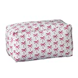 Palm Trees Pink White 12 x 5 Inch Cotton Patterned Cosmetic Carry All Bag with Handle