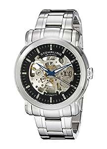 Stuhrling Original Men's 387.33111 Delphi Automatic Skeleton Black Dial Stainless Steel Watch