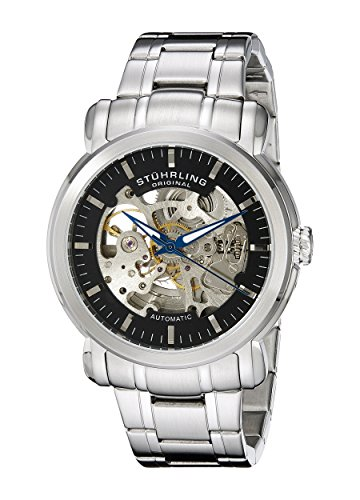 Stuhrling Original Men's 387.33111 Delphi Automatic Skeleton Black Dial Stainless Steel Watch (Safety Crown Track)