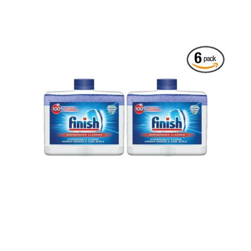 Finish Dual Action Dishwasher Cleaner: Fight Grease & Limescale, Fresh, 8.45 oz. - Pack of 6 by Finish